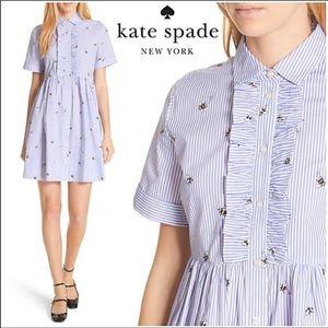 Kate Spade l Abuzz Poplin Shirt Dress Bee Ruffle